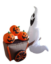 180cm/6FT inflatable white ghost who pushes a pumpkin cart for halloween