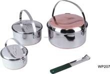 Food grade stainless steel picnic pots set camping cookware for Europe