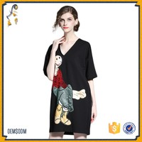 Fashion Black short sleeves loose casual handmade sequins cartoon pattern T-shirt dress