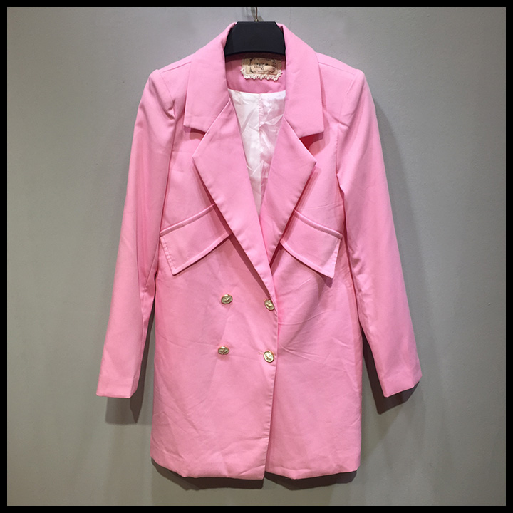 new clothes stock lots Pink korean style clothes long coats for Autumn