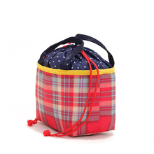 Top grade cheapest various design plaid portable ice drawstring cooler bag