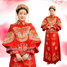 Newest Loveable Long Sleeve Elegant Red High Quality wedding dress bridal gown