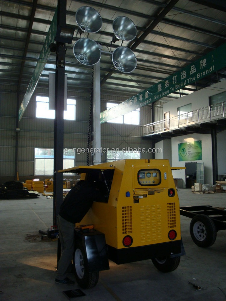 7kw-70kw 9m mast kubota engine trailer generator light tower