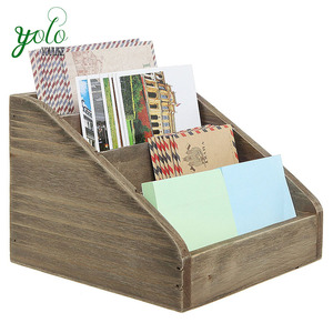 Rustic Desk Organizer 4 Compartments Wood Mail Sorter