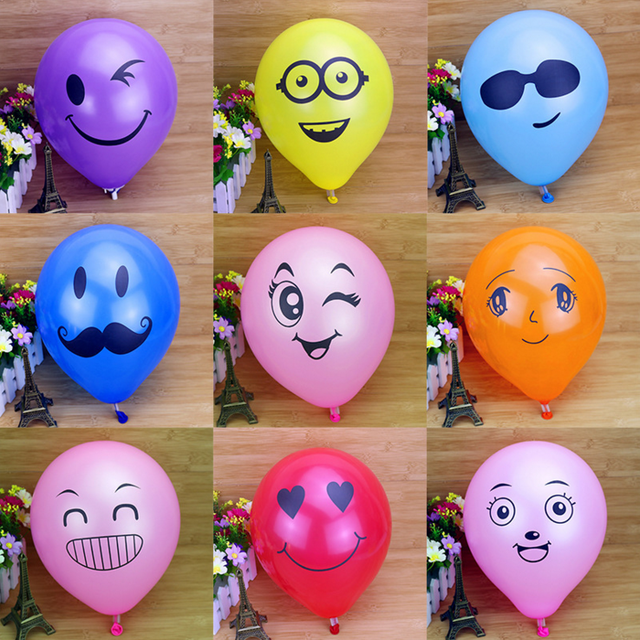 "10pcs Printed Big Eyes Smiley Air Balloon 10"" Balloons 12 Colors Party Birthday Wedding Party Decorative Inflatable Latex Balls"