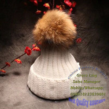 hot sell braided knitted real raccoon dog lovely fur ball winter fur hat