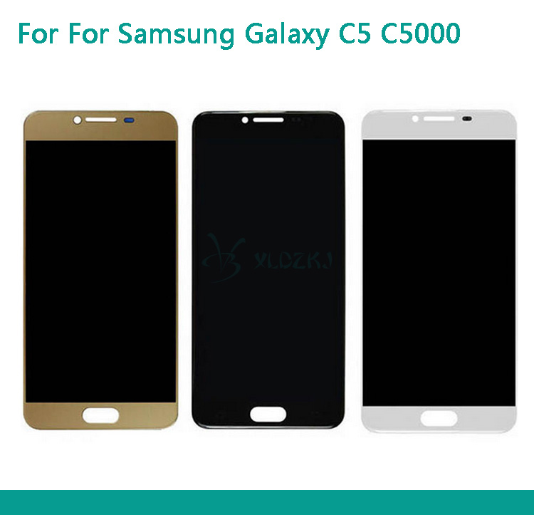 LCD Screen Assembly For Samsung Galaxy C5 C5000 LCD Display Touch Screen Display Pantalla Complete Replacement Black White Gold