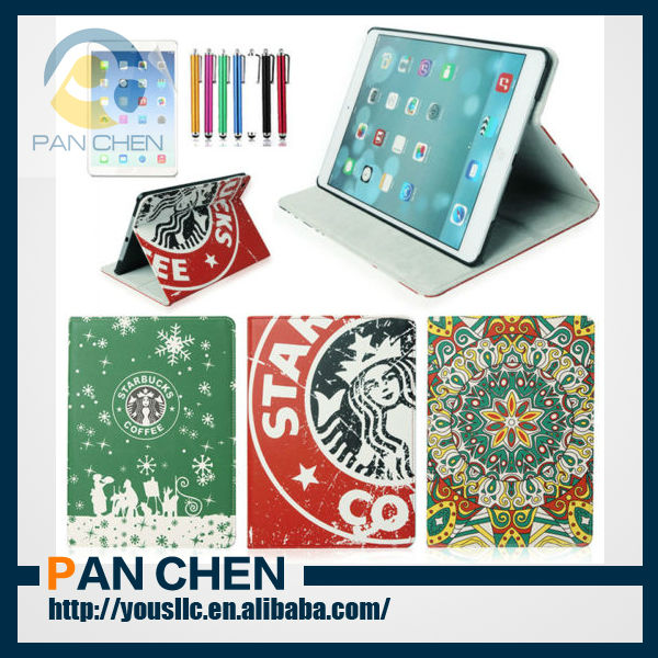 Fashion Starbucks Magnetic PU Leather Case Stand Case For New iPad Air 5 With Sleep Wake
