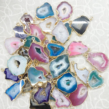 Wholesale Multicolor Gold Edged Agate Druzy Geode Pendant Jewelry ...
