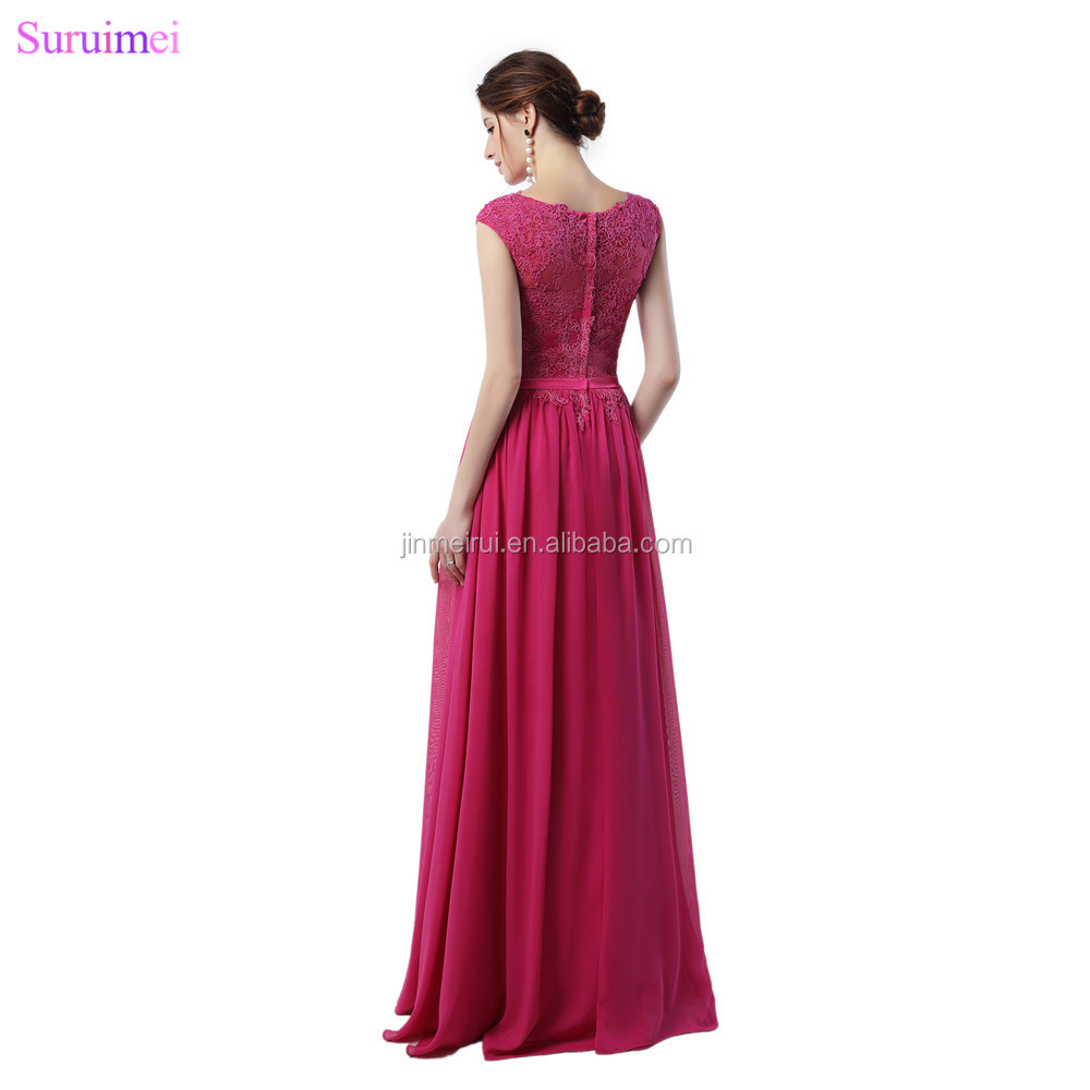 Rose Red Bridesmaid Dresses Lace Applique With Cap Sleeves High Neck Floor Length Chiffon Long Brides Maid Dress Vestidos De