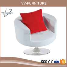 upholstery fabric cup shaped swivel base leisure chair