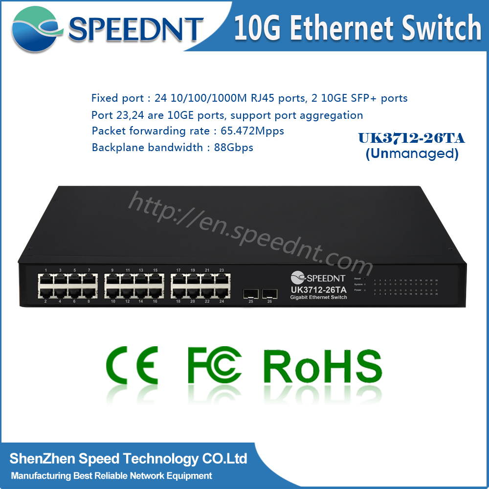 2 10ge SFP+ unmanageable 10G Network Hub 24-port Switch