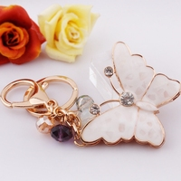 Creative Fashion Butterfly Keychain Key Chain Ring Keyring with many pretty beads