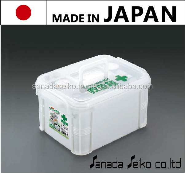 Plastic medicine box w/partition tray and handle| Sanada Seiko Plastic High Quality made in japan | paper medicine box design
