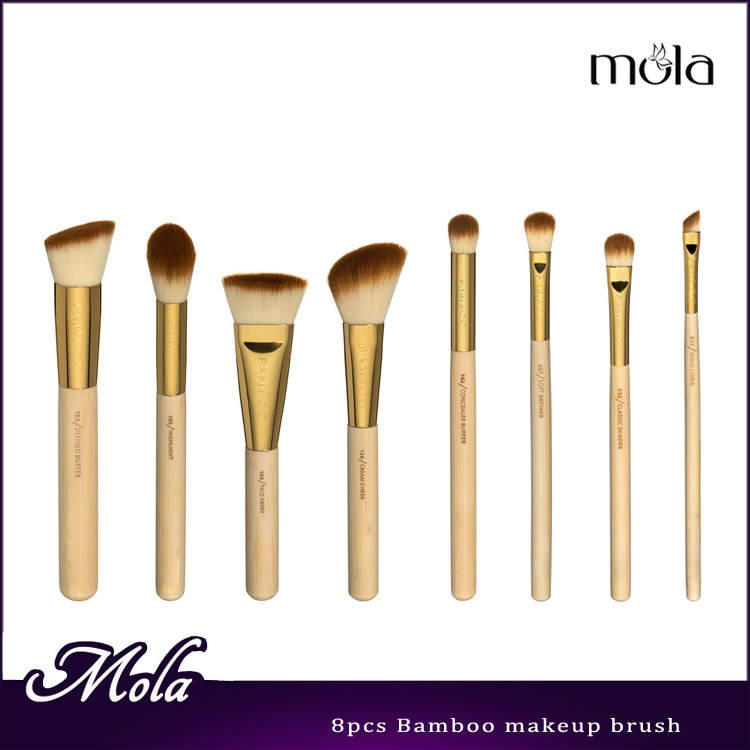 New products private label 8 pc bamboo makeup brush set for beauty needs bamboo Japanese