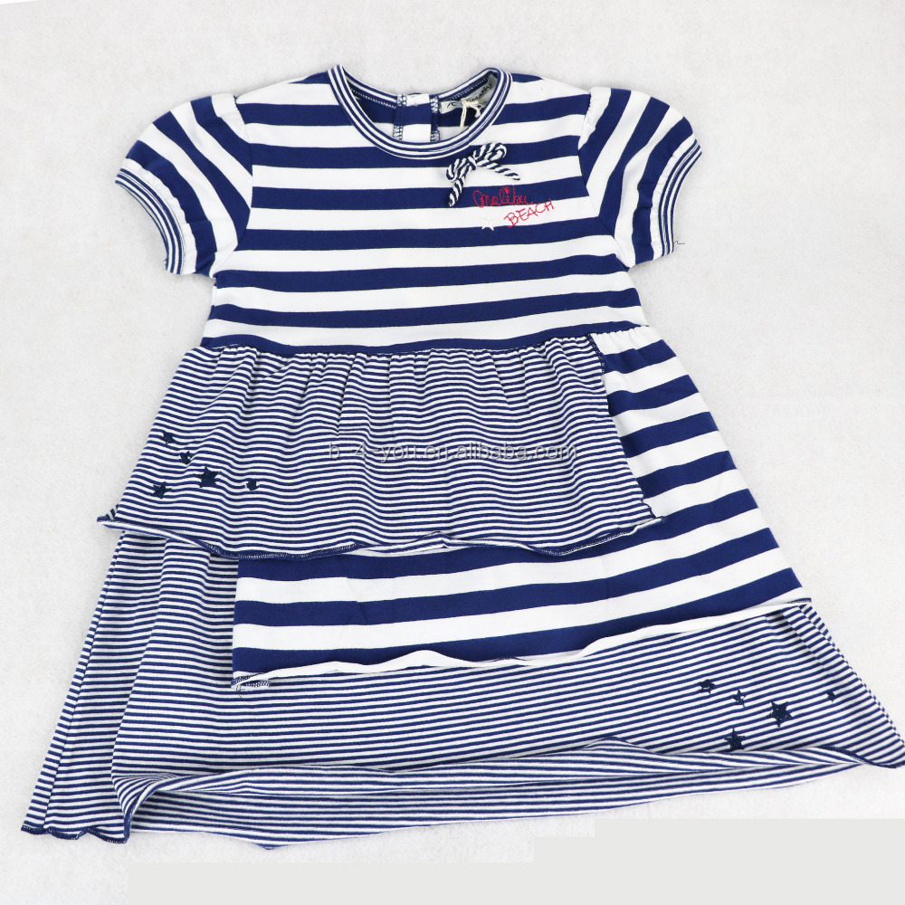 2016 Wholesale Fashion Lovely Stripe Dress Simple design girls frock for Casual Dress