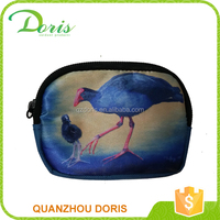 Satin fabric very clear birds digital printing coin purse