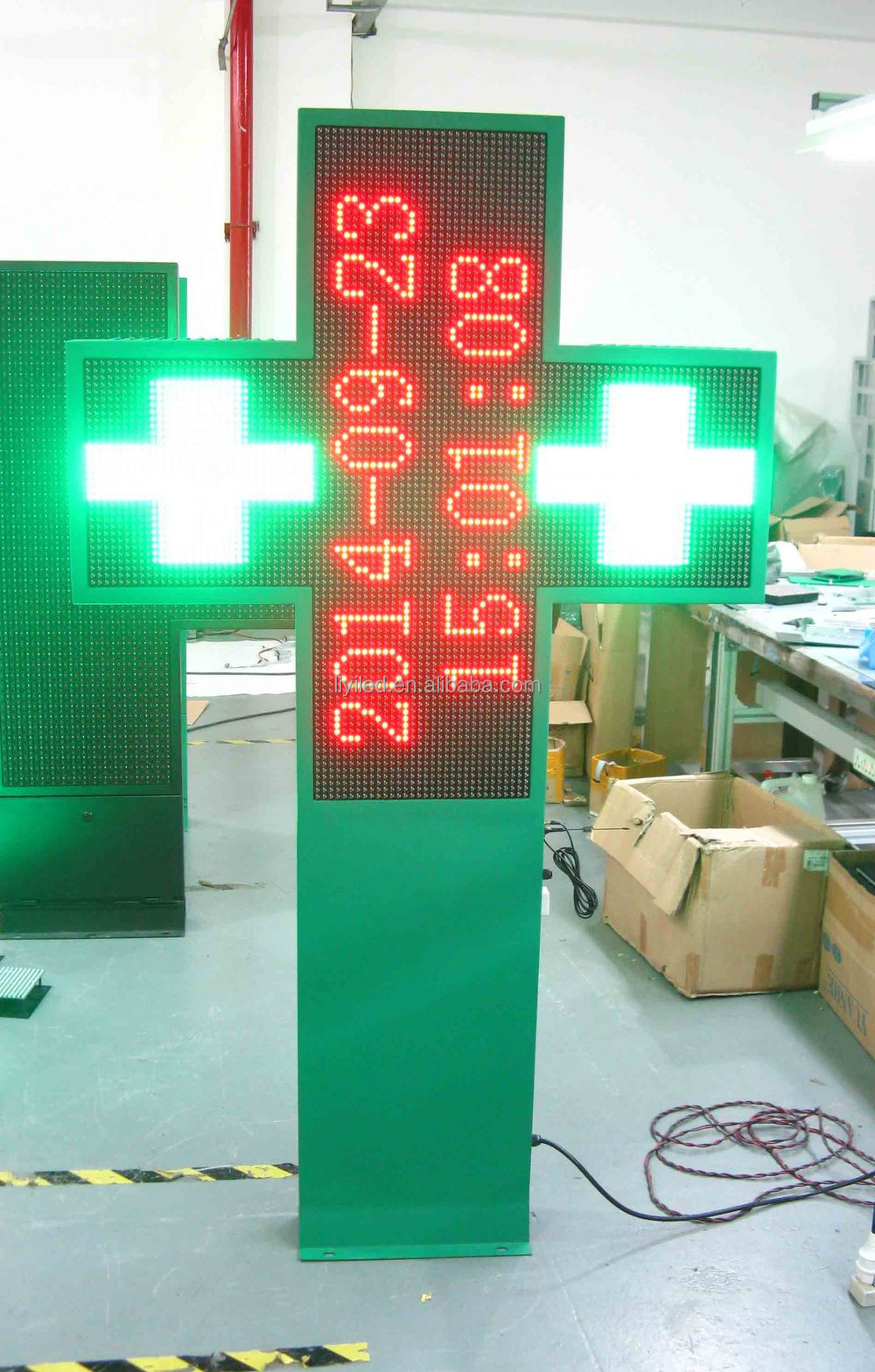 Aluminium & steel LED pharmacy crosses green & red & blue & yellow & amber single color P10 outdoor LED farmacia sign