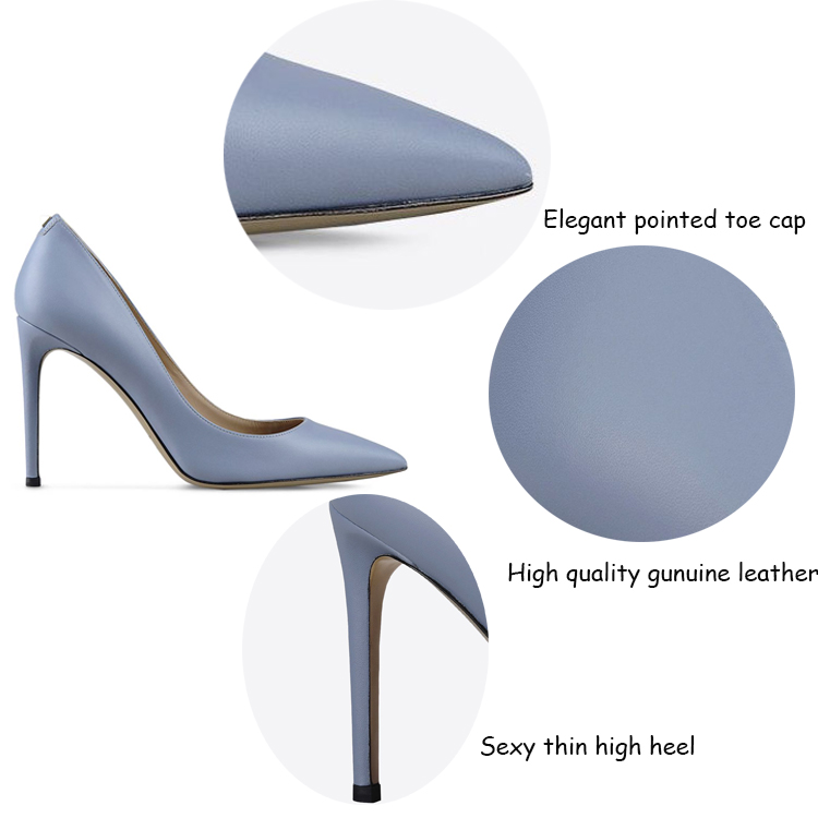 2016 New model high quality fashion top design leather upper high heel italian women shoes made in China