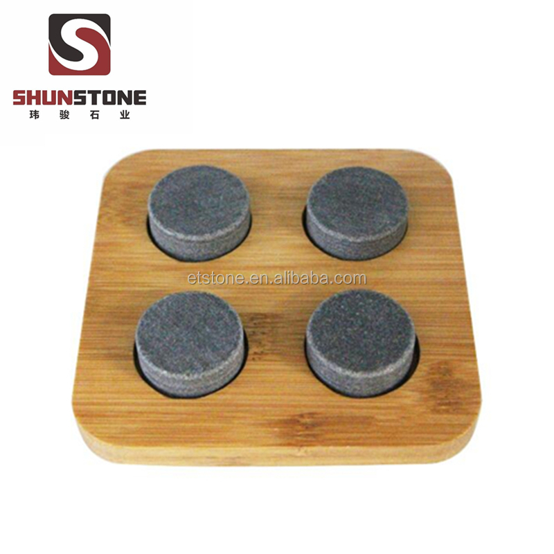 Round Ice Cubes Grey Whiskey Stones With Wooden Tray