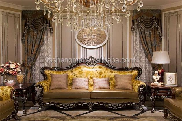 new classic design luxury furniture wood carving sofa villa living