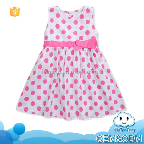 Wholesale children's boutique clothing polka dot sleeveless belted summer short evening baby dress modern for 2-7 years old
