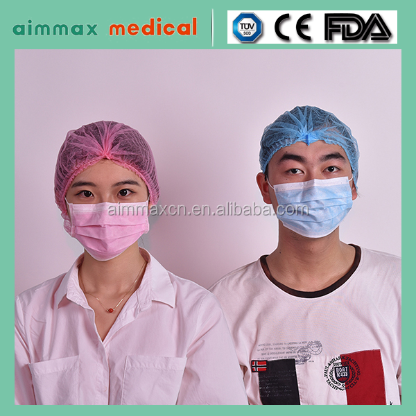 certificate approved Non-woven bouffant caps food industry medical processing disposable caps