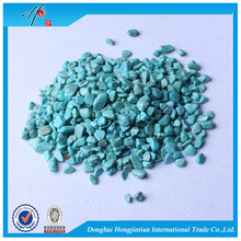 Turquoise colored pea gravel & crushed stone