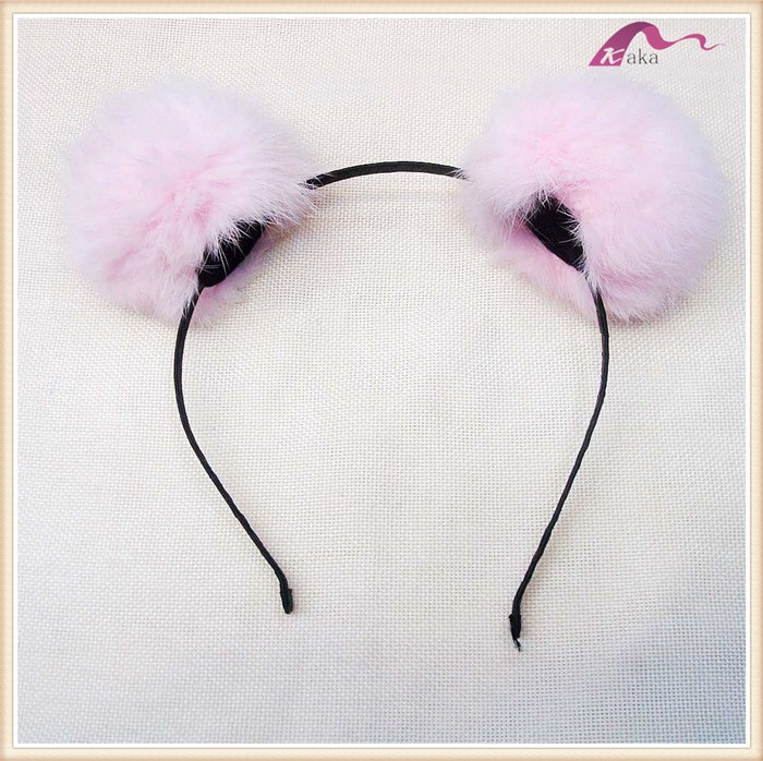 New Designs Lovely Pink Pom Ball Fur Headband For Baby Girls