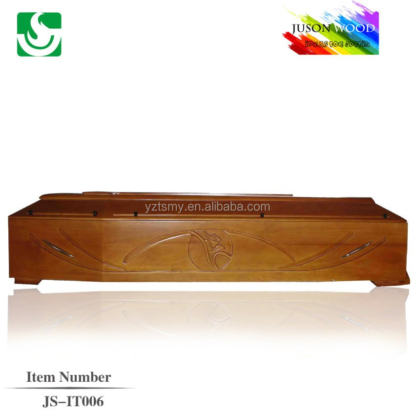 nice carving solid oak wooden coffin dimension box