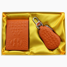 Classical creative leather license card wallet key holder gift set
