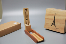 wholesale small MOQ customized logo wooden ballpoint pen with box case