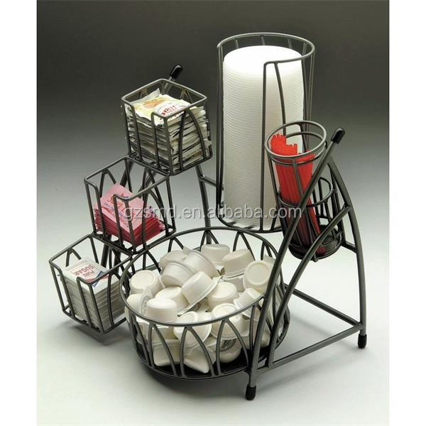 Manufacture Black Metal Wire Tabletop Coffee Condiment Station