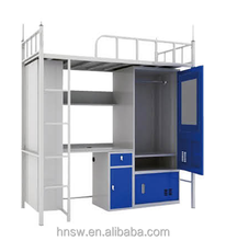 university use 2 levels commercial steel bunk beds with storage and study table