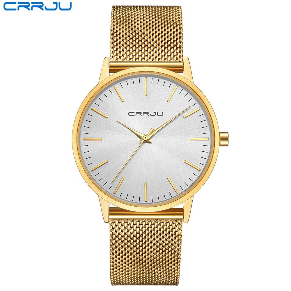 74b692bc16f CRRJU Homens Homem de Negócios de Luxo Relógio de Ouro À Prova D  Água Único