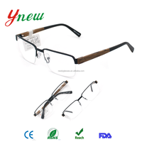 New Fashion Students Feeling Black Front Half Rim Wood Temple Optical Frames