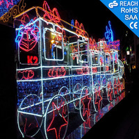 Outdoor Holiday plaza led lights decoration train motif christmas 3D led motif lights
