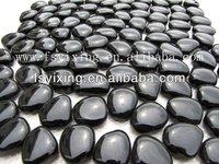 PG01 Various size black color stone pebbles carpet glass mosaic swimming pool border tile