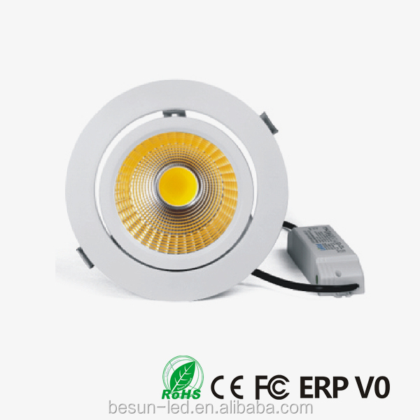 High CRI 95Ra 30w 90 degree adjustable original COB gimbal led downlight with 5years warranty CE, FCC, ERP, ROHS, V0