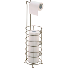 Metal Wire Chrome Plating Rack Standing Toilet Paper Rolls Holder