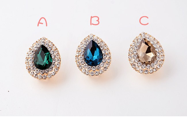 Hot Sale!!! Korean version of earrings, European style fashion diamond crystal atmospheric water droplets earrings