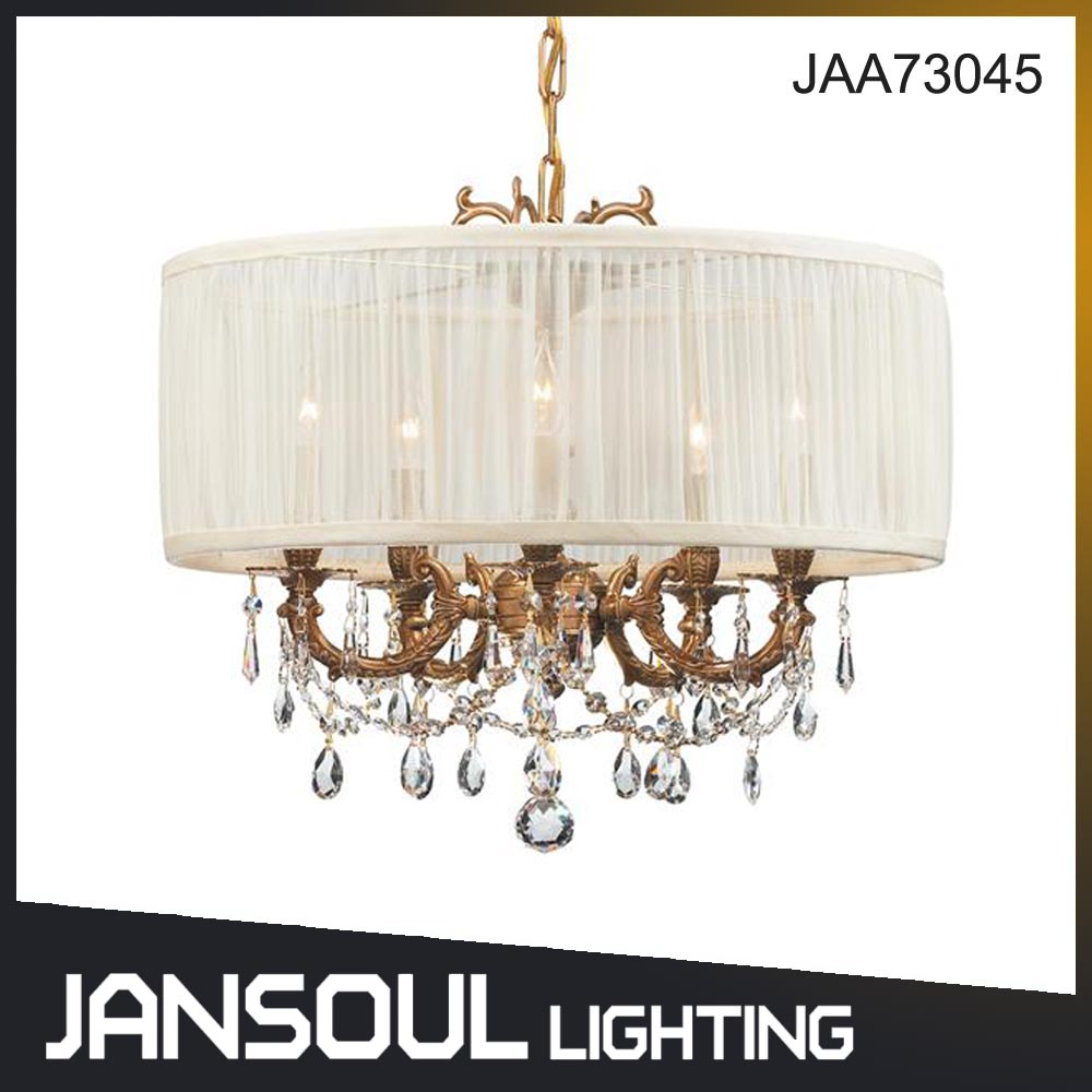 Zhongshan Jansoul Black Vintage Handmade Glass Metal Crystal Pendant Chandelier Light with Lampshade
