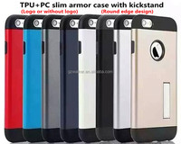 Factory price 1:1 quality round edge design slim armor cover with kickstand for iphone 5 5s se 6 6 plus sgp case