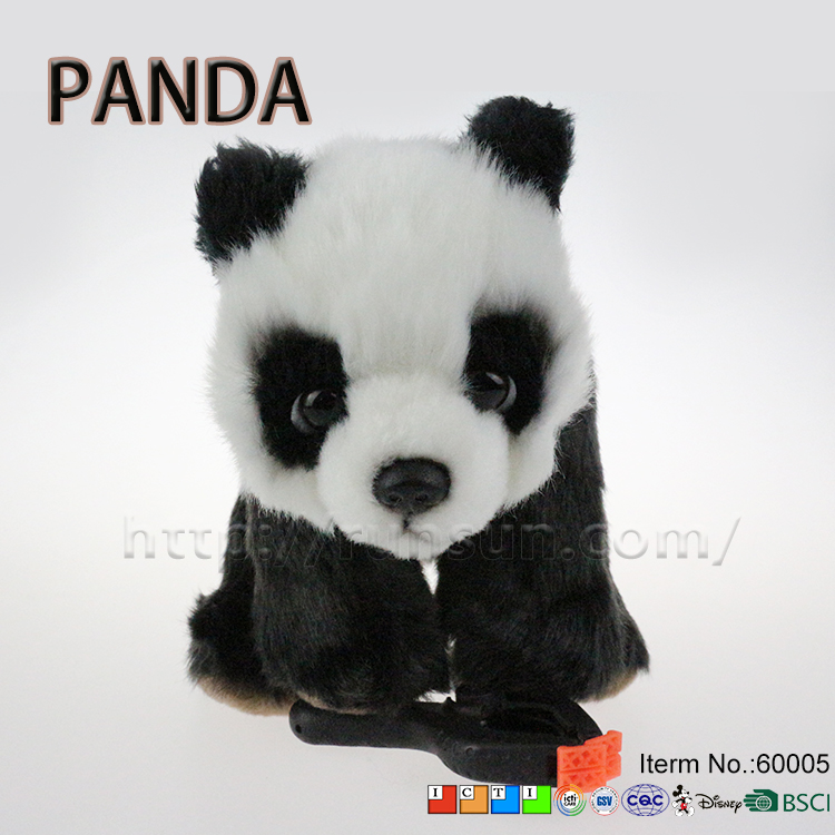 hot sale 13*12*17cm warm baby doll black white color cuddy toy panda stuffed animals with big eyes