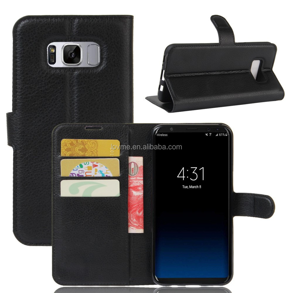 Lichee Pattern Wallet PU Leather Phone Case Back Cover With Card Slots For Samsung Galaxy S8