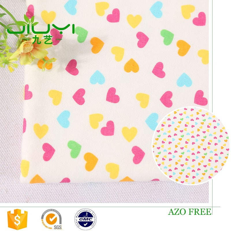 wholesale 100% cotton interlock loving heart custom printed fabric design