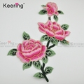 Pink rose and purple rose applique embroidery flower designs WEF-557