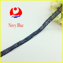 Hot selling Navy BLue Beaded Sewing Trimmings Embroidery Sequins Trimming for Dress Decoration