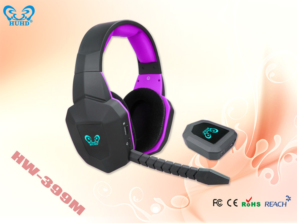 Stylish gamer headphone with cool led light logo shinning in the dark