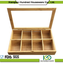 Small Trade Assurance bamboo wood tea box with clear lid